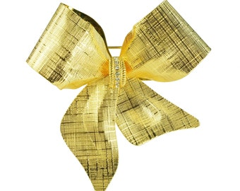 Gold Toned Riveted Bow Ribbon with Rhinestones Brooch