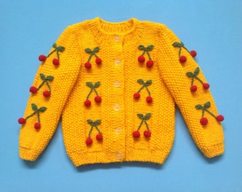 Girls Yellow Cardigan with Cherries