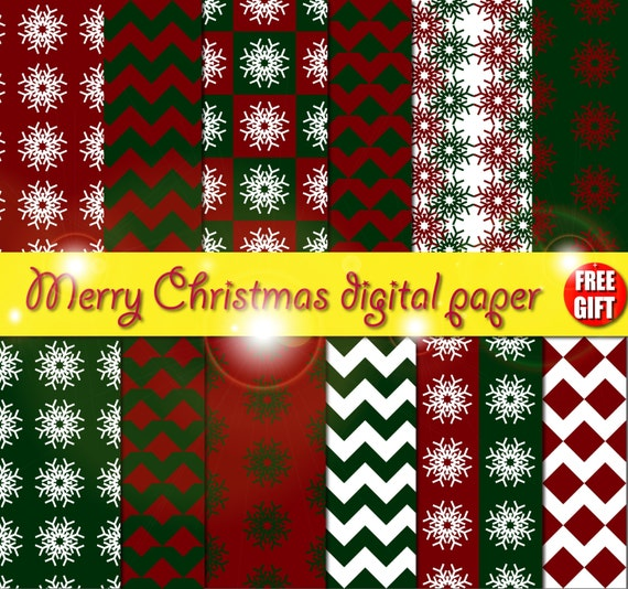Christmas digital paper red Snowflake christmas ornament Christmas decor photo christmas card Green Christmas scrapbook paper Xmas clipart