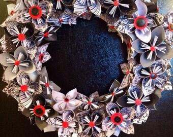 "20"" black/white/red kusudama wreath"