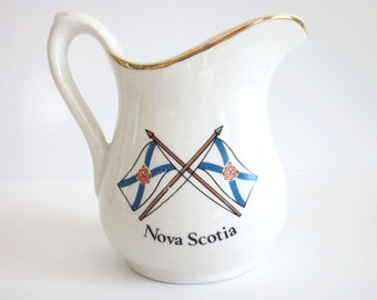 Vintage Nova Scotia Souvenir Pitcher ~ Royal Crownford Ironstone Hanley England Falcon Ware ~ Peggy's Cove Lighthouse Nova Scotia