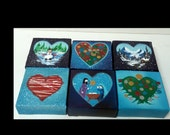 Christmas Grungy Heart Art 4x4 Acrylic on Canvas (6 to choose from!)