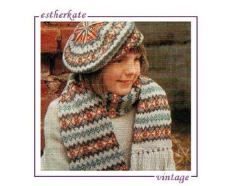 VINTAGE knitting pattern pdf, traditional beauty Fair Isle pattern beret and scarf, INSTANT DOWNLOAD