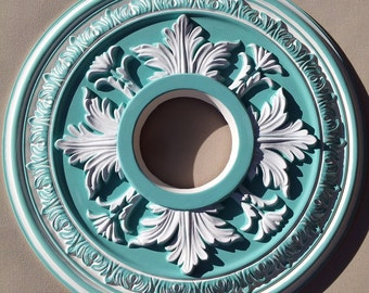 Hand Painted Aqua and White Ceiling Medallion, Nursery Decor, Custom Painted Ceiling Medallion, Baby Shower Gift