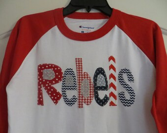 Adult or Children Hand Made Applique Rebels 3/4 sleeve baseball tee