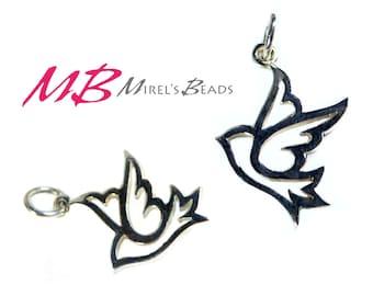 Peace Dove Charm, Sterling Silver  Bird Pendant