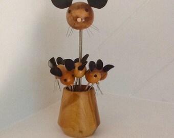 Mice Skewers in a Burl Wood Cup,Vtg. 50's /60's Serving Set