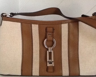 "Etienne Aigner"" Vtg.1970's Canvas and Leather Handbag"