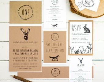 Enchanted Forest Wedding Stationery Invitation Sample Pack by Russet & Gray