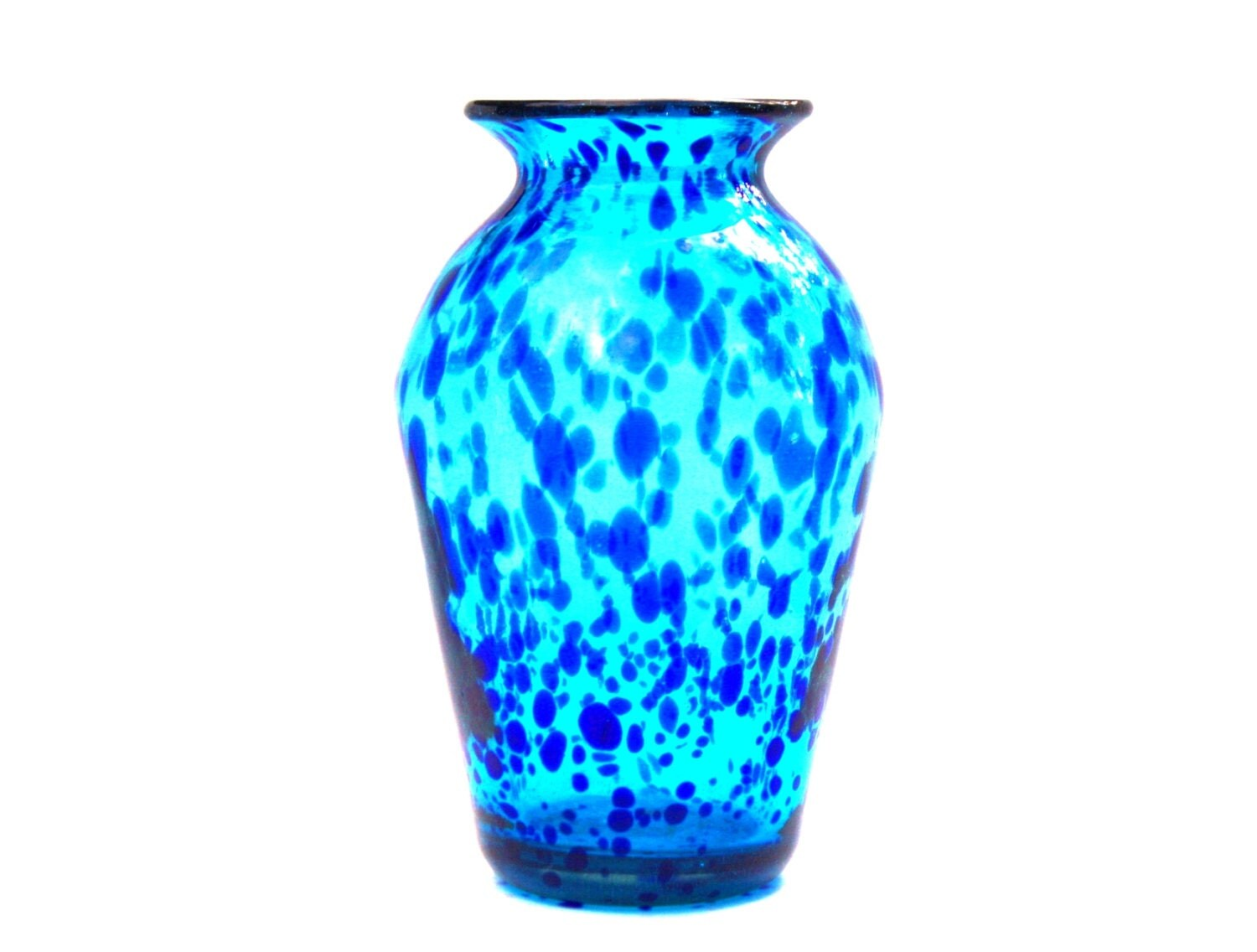 Hand Blown Glass Turquoise And Cobalt Vase Mexican Hand