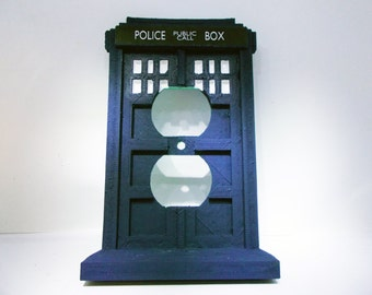 Doctor Who Tardis Outlet Cover - Blue Outlet Cover - Blue Outlet Plate - Dr. Who Outlet Cover