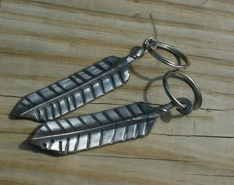 Feather. Metal. Keychain. Gifts. Her. Him. Handmade. Keys