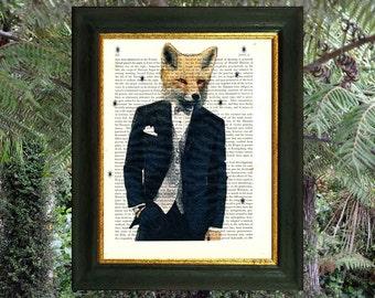 FOX MAN. Animal art.  Art on vintage encyclopedia page