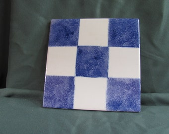"6"" Blue Checkered Tile Trivet"