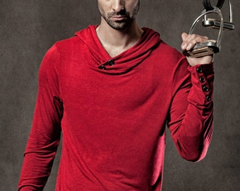 Men's Devon Top - Long sleeved hooded tee with antique metal buttons on the neck and sleeves.