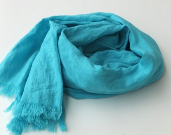 turquoise blue linen scarf, long and soft summer / spring wrap scarf