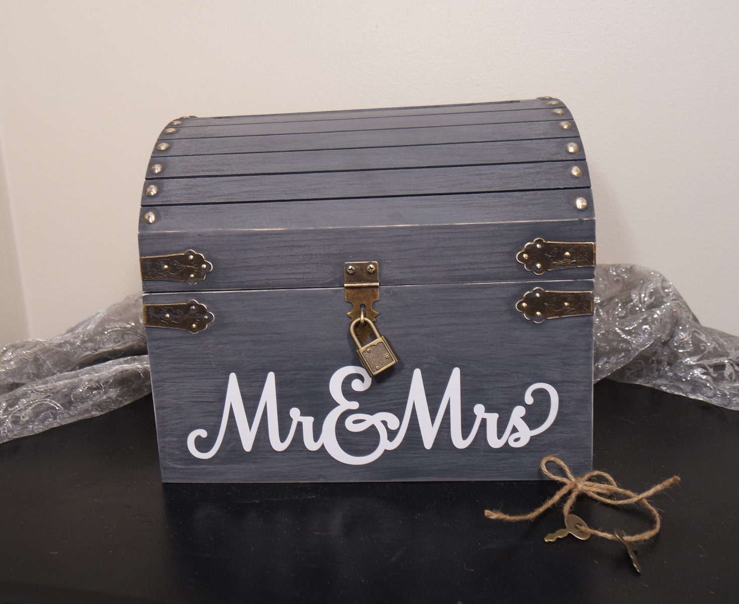 Lockable Wedding Card Chest w Card Slot Keepsake Chest Card – Wedding Treasure Chest Card Box