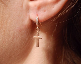 Rose gold, black or silver plated brass earrings with beautiful cross GOLDEN GATE by KREATURE bijoux