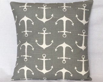 Gray Anchors Pillow Cover