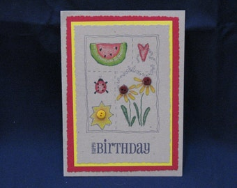 Sampler Birthday Card - Red