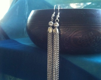 EXTRA LONG Silver Chain Earrings