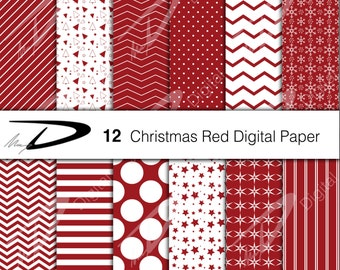 Christmas red digital paper -12 Christmas red and white scrapbook paper - Christmas digital background -Christmas Digital Paper Pack-