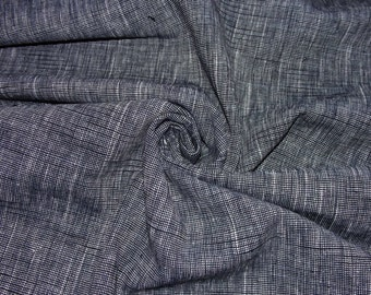 Crosswoven Black Navy and White Linen Fabric by the Yard // Linen Suiting