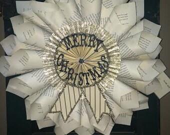 Merry Christmas Paper Book wreath~Glitter Wreath