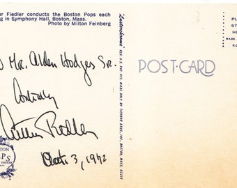 ARTHUR FIEDLER :  Conductor  Boston Pops   Signed Post card