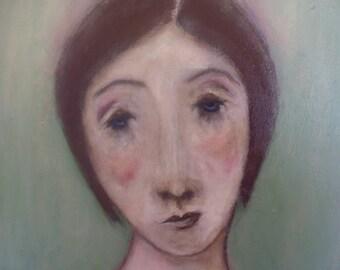 Original Folk Art Painting, woman, sorrow, sadness,grief, figurative.