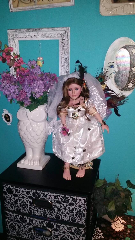 Steampunk bride art doll. One of a kind fantasy doll steampunk buy now online