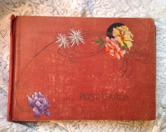 Antique Turn of Century Post Card Album Art Nouveau