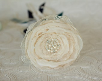 Flower girl wand, flower wand, satin and lace ribbons