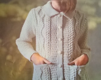 "1960s Patons Knitting Pattern 9516 for Lady's Aran Coat Cardigan Jacket Sizes 34-40"" Chest"