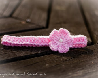 Crochet Newborn Headband, Newborn Headband for baby girl, Crochet Pink Newborn Headband