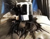Latex Rubber Mini Striped Top Hat Fascinator with Hackle Feathers & French Veil