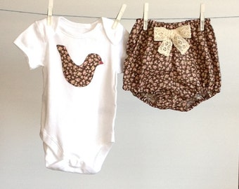 FLORAL BABY CLOTHES, chocolate floral roses outfit, bodysuit and diaper cover, decorated bodysuit, baby girl summer clothes