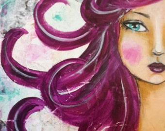 """Mixed Media Original Whimsical Face Art Notecard """"Isabella"""""""