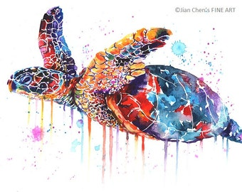 sea turtle - mounted original painting (SOLD to  Hvw Barnes)