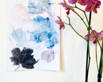 Blue Leaf Monoprint