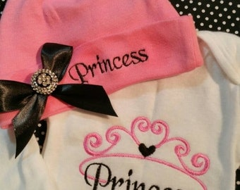 Cute princess onesie with matching hat