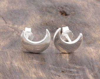 925 stering silver crescent moon stud earrings (R_00012)