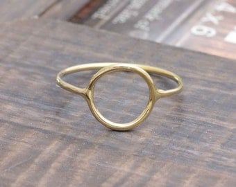 925 vermeil gold open circle band ring