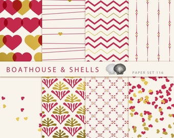 8 Digital Valentine Papers with Hearts, Ornaments, Chevron and Lines in red/gold/off-white, Digital Scrapbook Supplies - 116