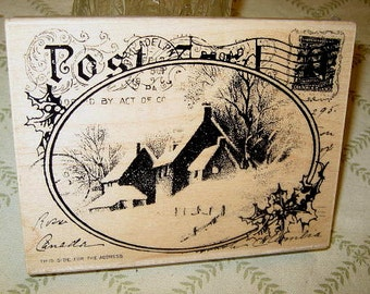 """1.75 OFF - Old-Fashioned Xmas Post Card Large Rubber Stamp - 4x5"""""""
