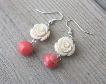 Tara II Earrings - White Composite Flower and Pink Coral Stone Bead Wire Wrapped Earrings