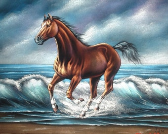 Brown horse beach landscape black velvet oil painting handpainted signed art