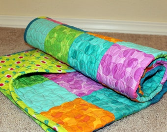 Modern Patchwork Bright Bubbles Baby Quilt