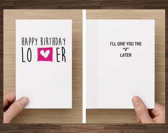 Naughty Birthday Card For Boyfriend, Husband, I'll Give You The V Later