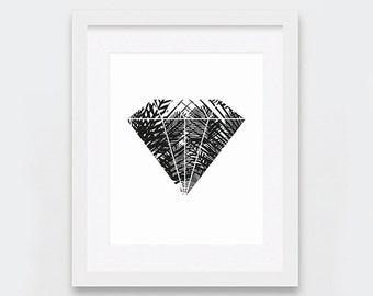 Tropical Printable Art, Diamond Print, Geometric Art, Palm Leaves Art, Boho Art, Black and White Wall Art, Mood Board Art, Modern Nursery